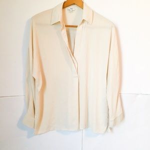 Vince silk ivory long sleeve vneck